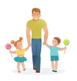 Happy father with daughter and son vector image