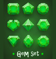 set of realistic green gems of various shapes vector image