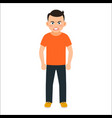 angry boy in spring clothes vector image