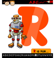 letter r with robot cartoon vector image vector image