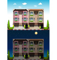 Neighborhood at day and night vector image