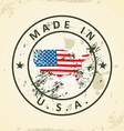 Stamp with map flag of United States of America vector image