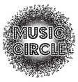 abstract round monochrome background with music vector image