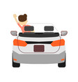 back view car with driver icon vector image