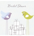 Bridal shower invitation with two cute birds in vector image