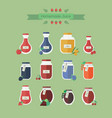 collection of jars with juice in flat vector image