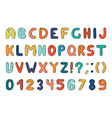 colorful alphabet in doodle style memphis vector image