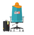 Flat design of office chair with fight ticket vector image