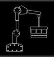 robotic hand manipulator white color path icon vector image