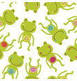 seamless pattern with baby frog vector image