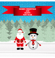 Snowman and Santa Claus in a Christmas forest vector image