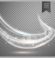 Transparent white light streak background vector image