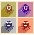 Set of flat icons with long shadow octopus sushi vector image