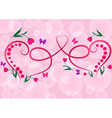 Two red floral hearts pink background vector image