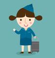 happy air hostess vector image
