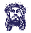 Jesus christ the son of god in a crown of thorns vector image