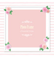 elegant square photo frame decorated with roses on vector image