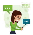 color poster of mobile technology with woman half vector image