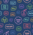 Colorful outline phrases seamless pattern on blue vector image