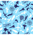 aviation icons set blue seamless pattern eps10 vector image