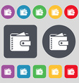Purse icon sign A set of 12 colored buttons Flat vector image