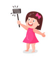 cute cartoon girl in pink dress making selfie with vector image