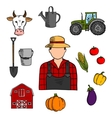 Farmer with agriculture and farming icons vector image