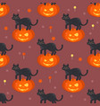 halloween pumpkin head with black cat pat pattern vector image