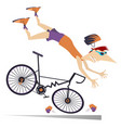 man falling down from the bicycle isolated vector image