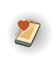 mobile gadget with heart vector image