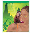 Monkey and woman vector image