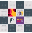Simple calendar 2017 with rooster symbol of 2017 vector image