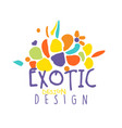 exotic tropical summer vacation logo design vector image vector image