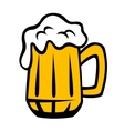 Tankard of golden lager with a frothy head vector image vector image