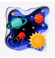 3d abstract paper cut of space vector image