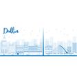 Outline Dublin Skyline with Blue Buildings vector image