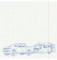 Caravan and Car sketch vector image