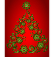 Christmas Tree abstract floral pattern vector image