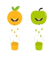 Fresh juice and glasses Apple orange fruit with vector image