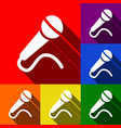 microphone sign set of icons vector image