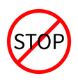 Prohibition no symbol Red round stop sign Template vector image