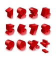 Red shiny 3d thick numbers isolated font on white vector image