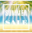 summer sale background with palm and sun vector image