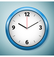 Realistic classic blue round wall clock icon vector image