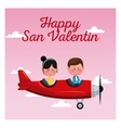 happy san valentine card couple flying red plane vector image