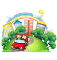 A girl and a boy riding at the car along the road vector image