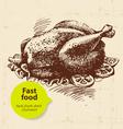 Vintage fast food background Hand drawn Menu desi vector image vector image