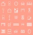 Living room line icons on orange background vector image