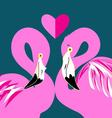 graphics in love pink flamingos on a blue vector image