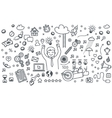 Business doodles icons vector image